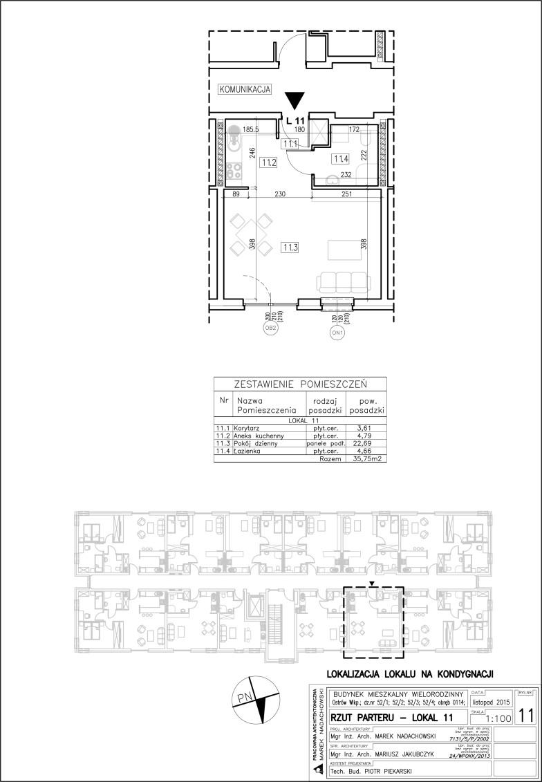 Lokal nr 11 Powierzchnia 35,75 m2