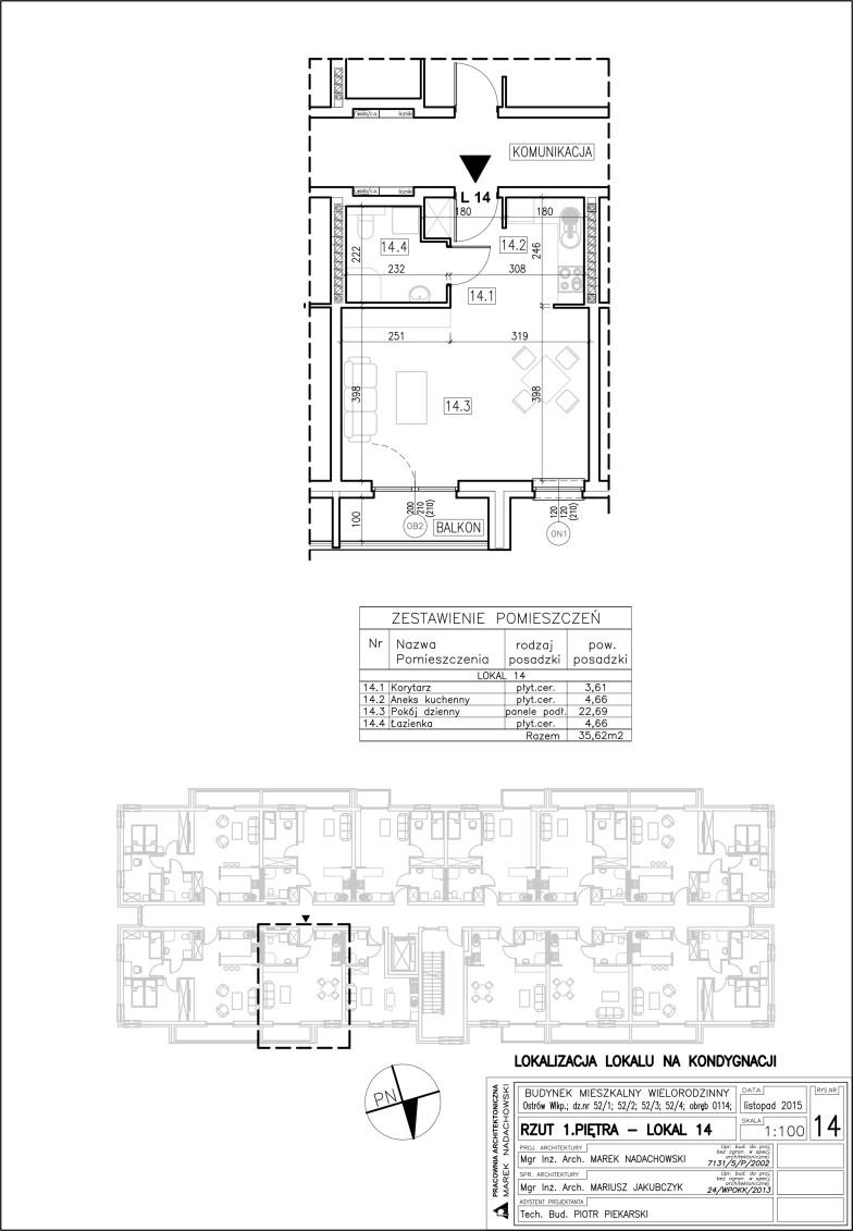 Lokal nr 14 Powierzchnia: 35,62 m2