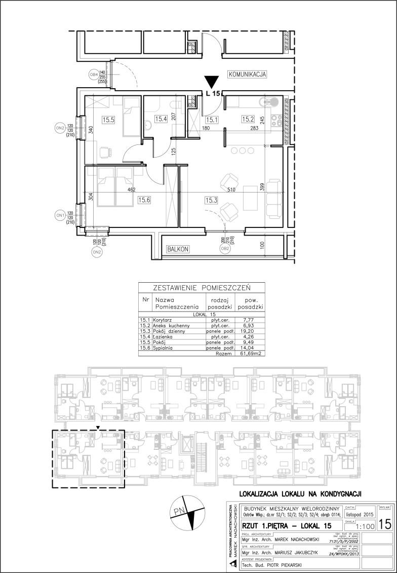 Lokal nr 15 Powierzchnia 61,69 m2