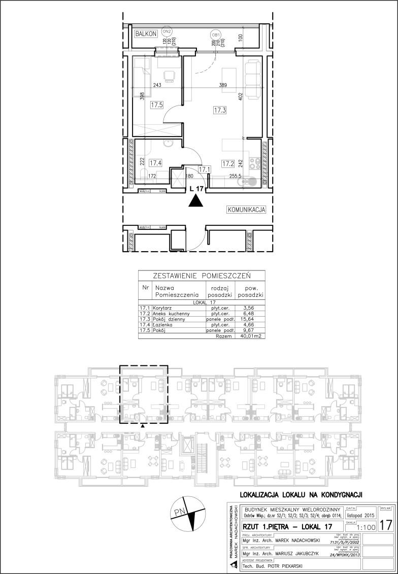 Lokal nr 17 Powierzchnia: 40,01 m2