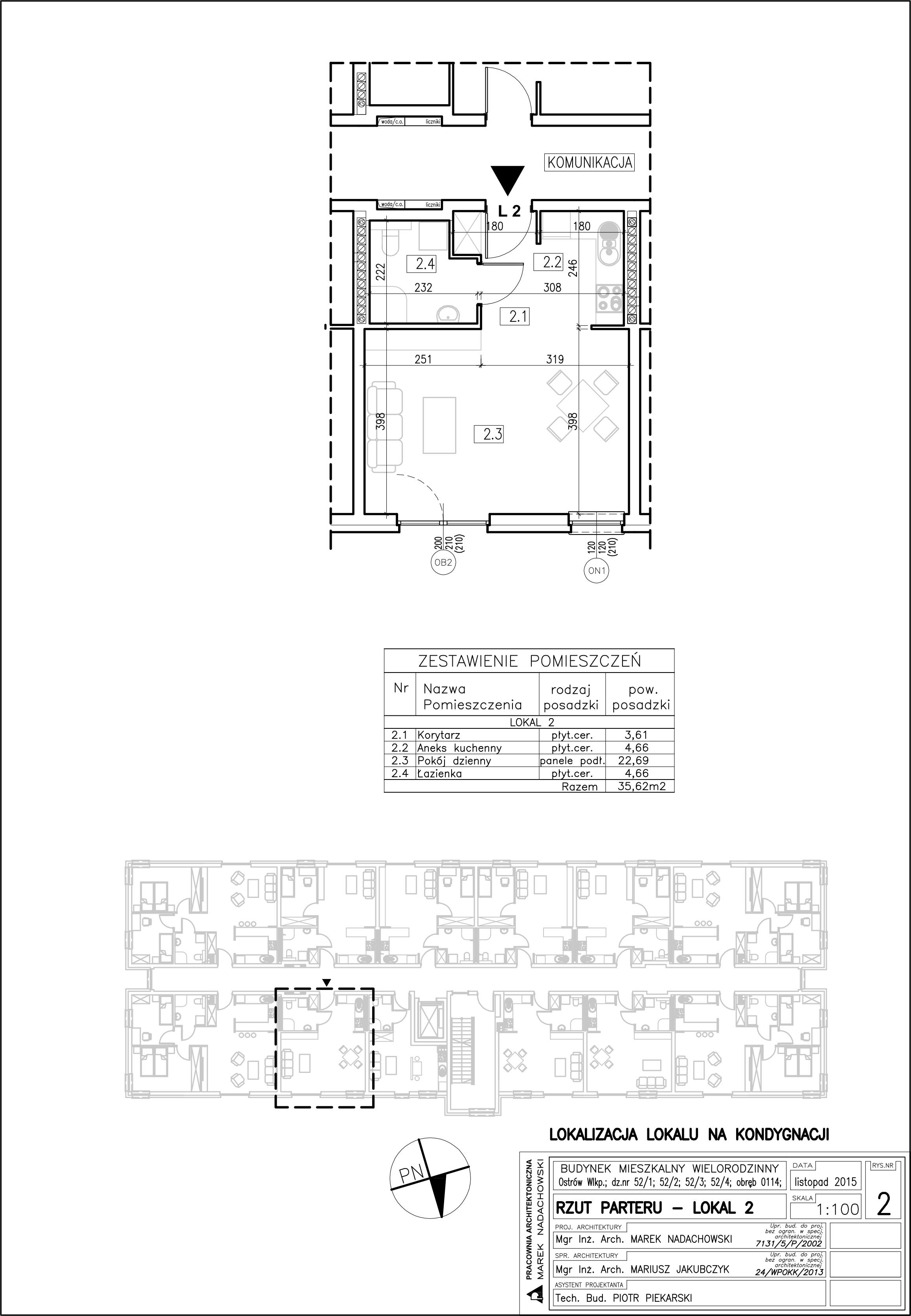 Lokal nr 2          Powierzchnia: 35,62 m2