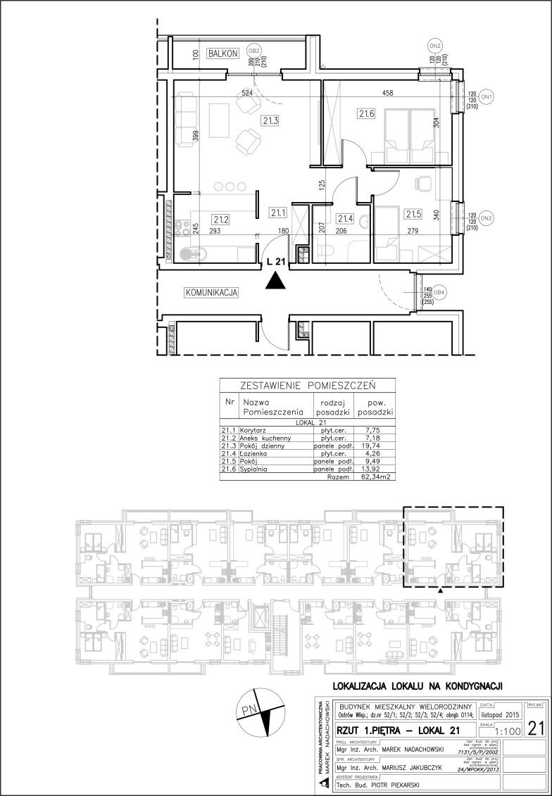 Lokal nr 21 Powierzchnia: 62,34 m2