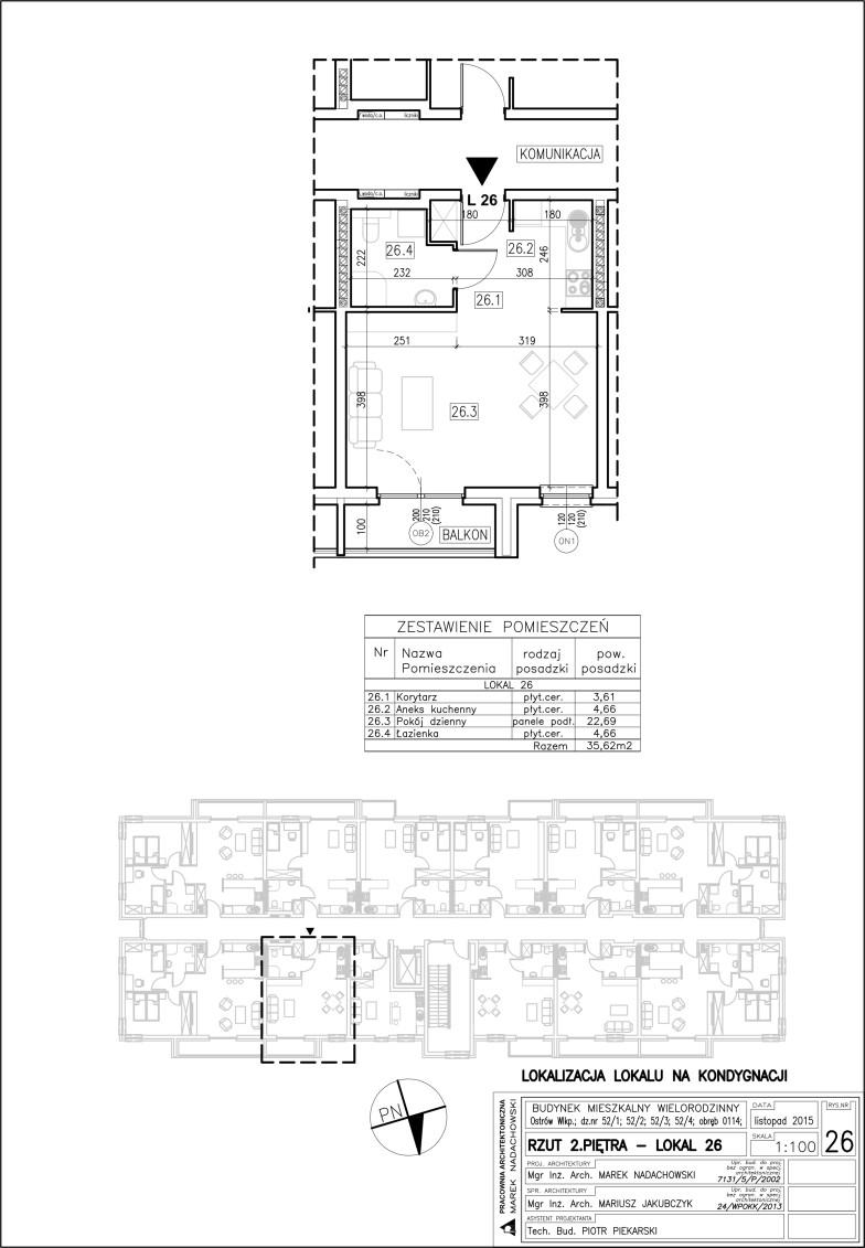 Lokal nr 26 Powierzchnia: 35,62 m2