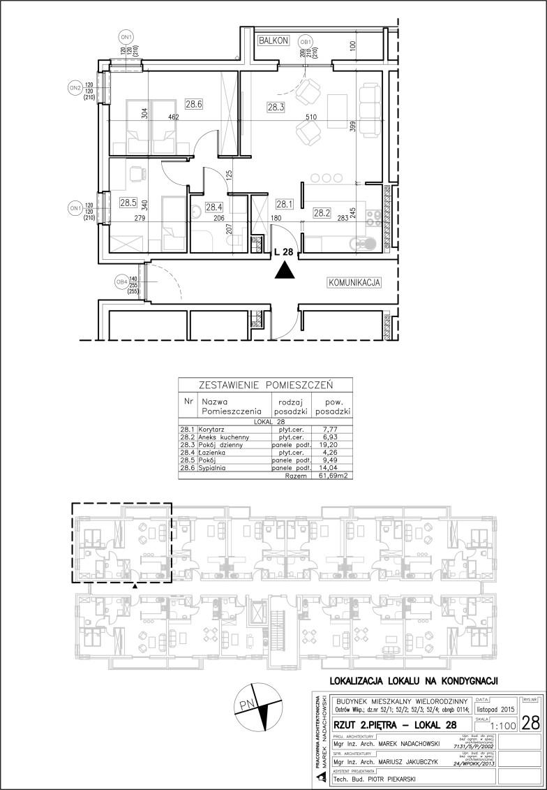 Lokal nr 28 Powierzchnia 61,69 m2