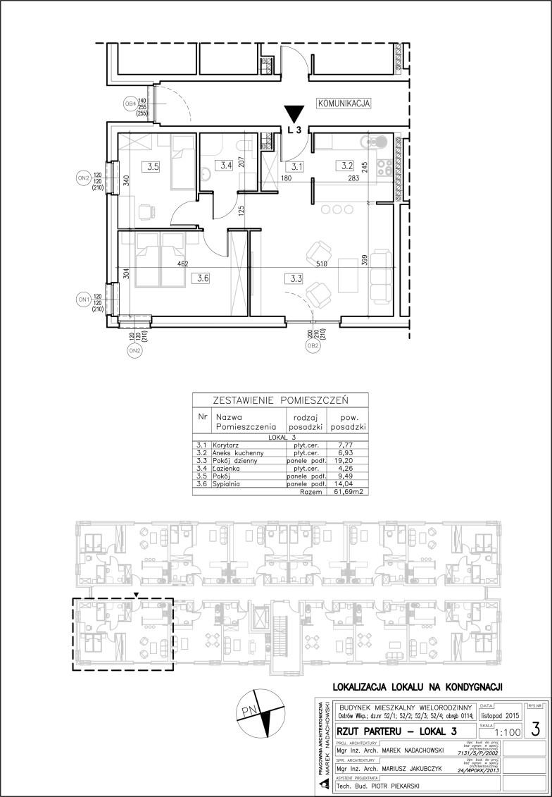 Lokal nr 3 Powierzchnia: 61,69 m2