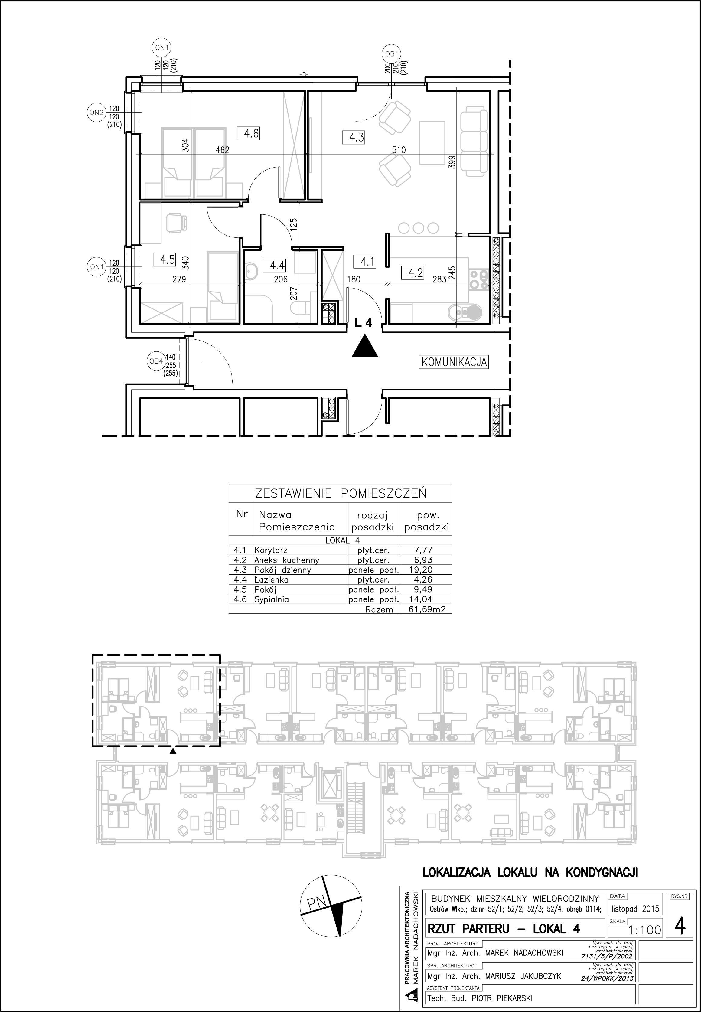 Lokal nr 4 Powierzchnia 61,69 m2, ogródek
