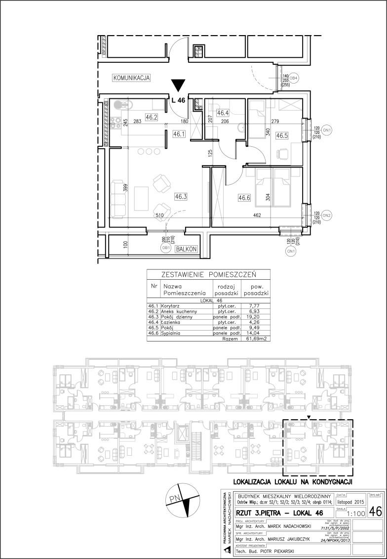 Lokal nr 46 Powierzchnia 61,69 m2
