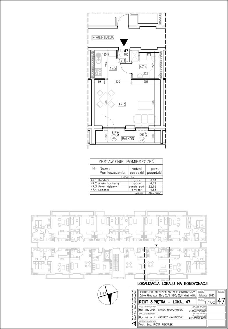 Lokal nr 47 Powierzchnia 35,75 m2