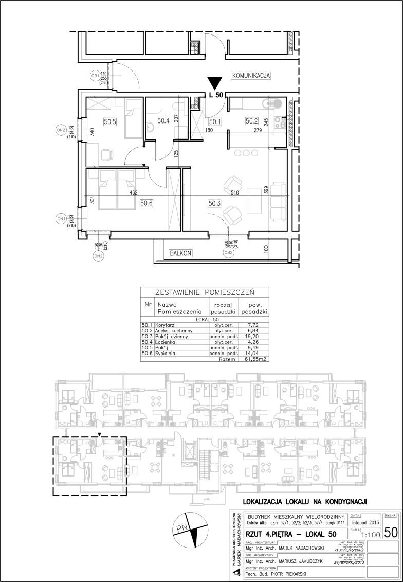 Lokal nr 50 Powierzchnia 61,55 m2
