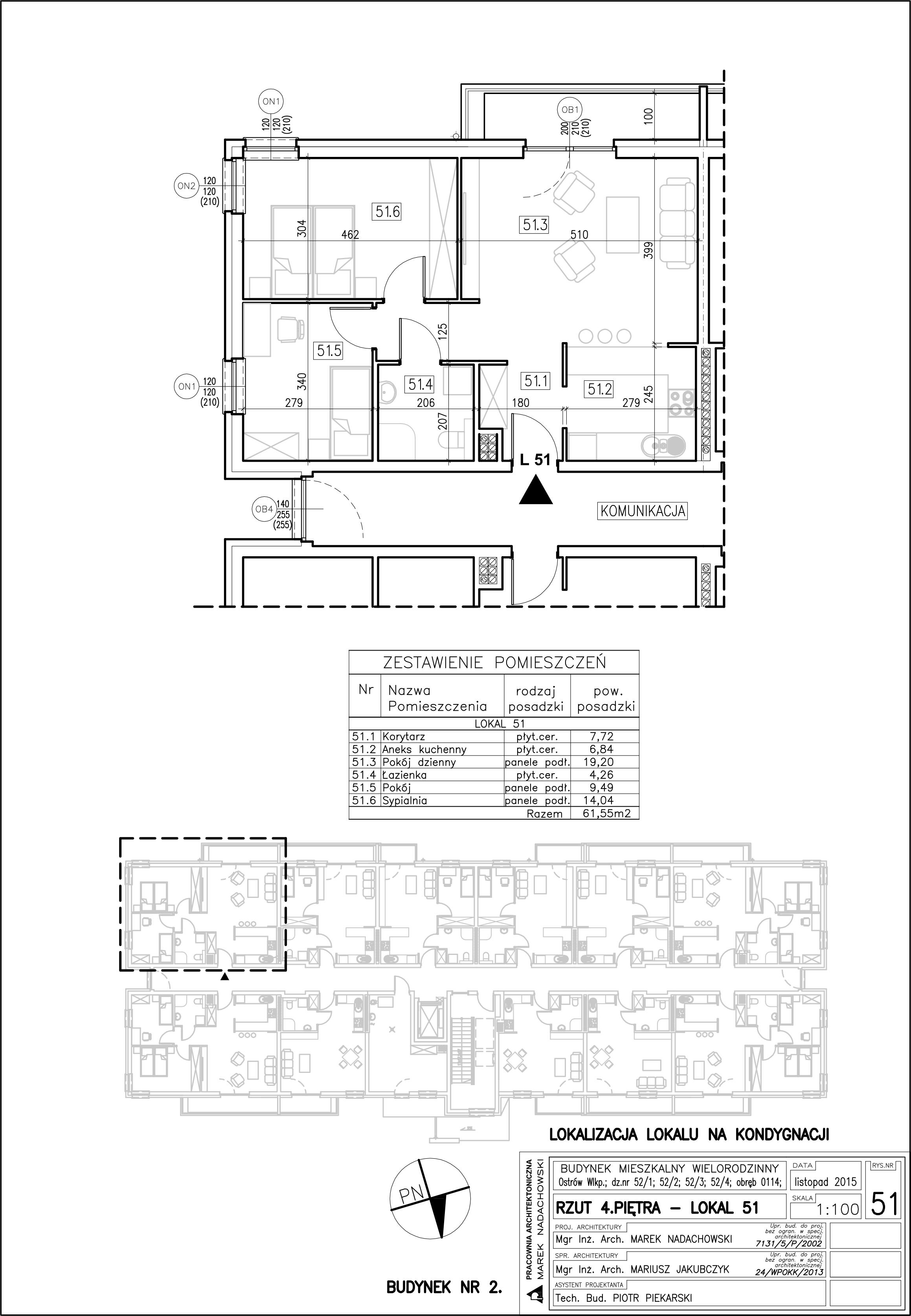 Lokal nr 51 – budynek 2 Powierzchnia 55,56 m2