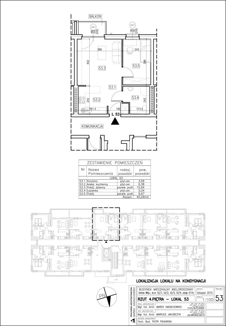 Lokal nr 53 Powierzchnia 40,29 m2
