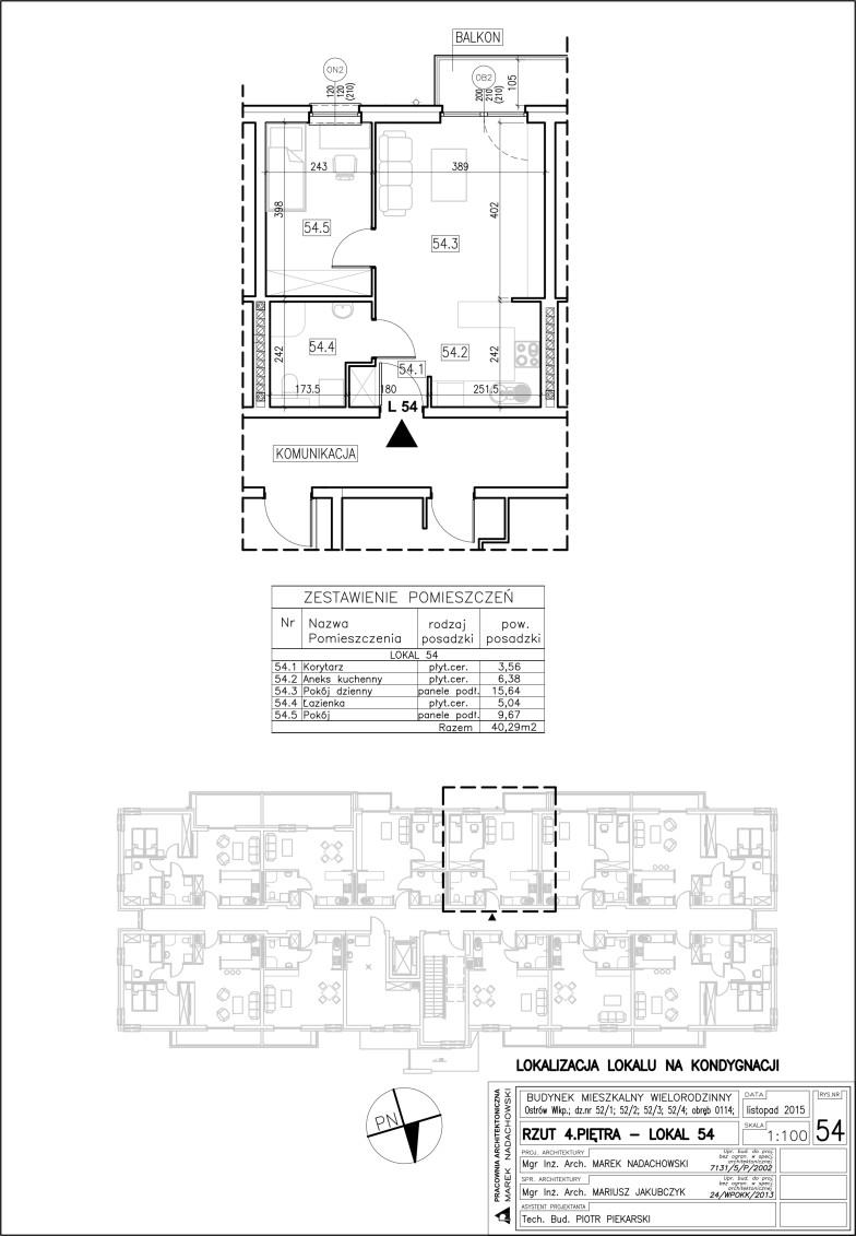 Lokal nr 54 Powierzchnia 40,29 m2