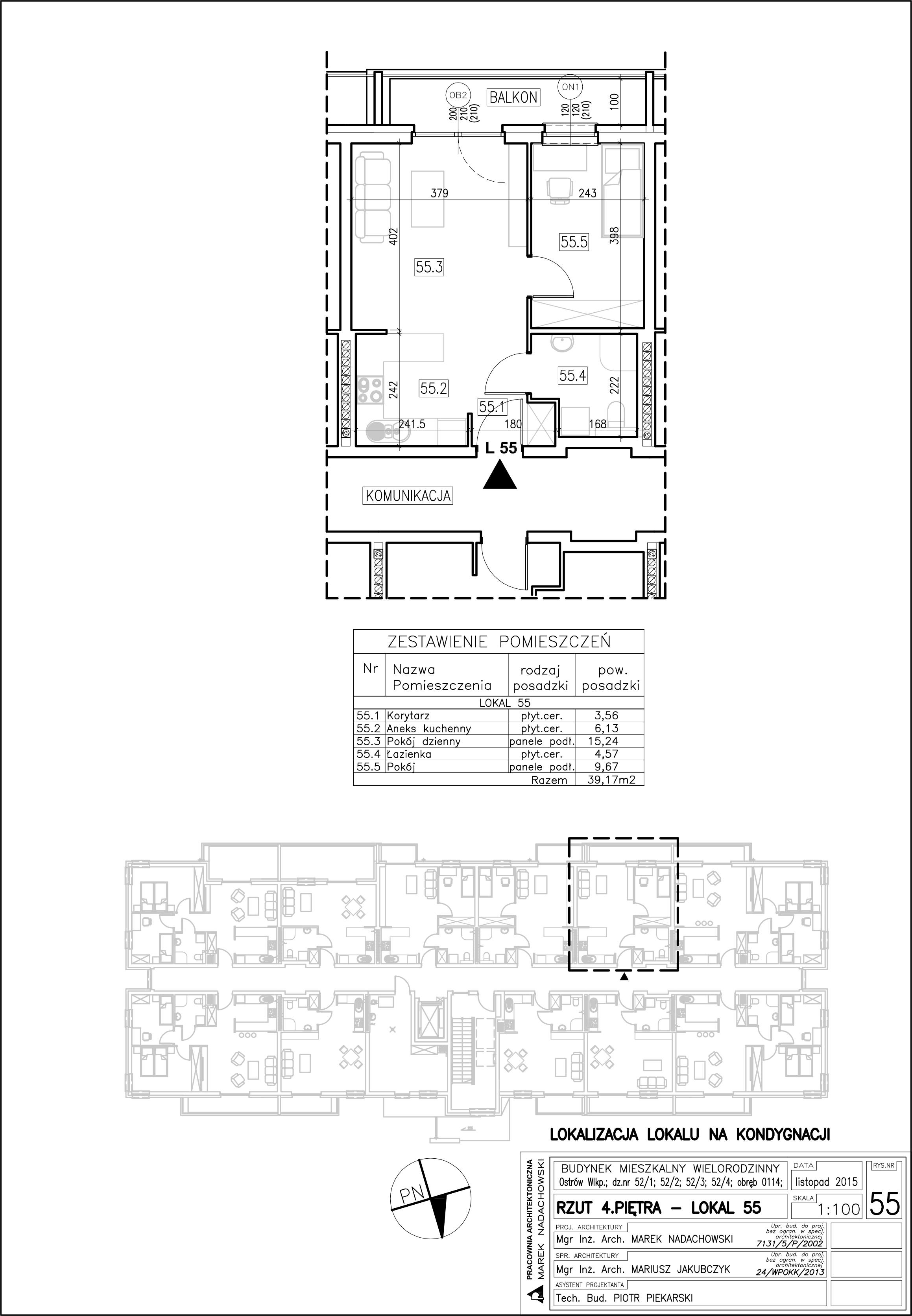 Lokal nr 55 Powierzchnia 39,17 m2