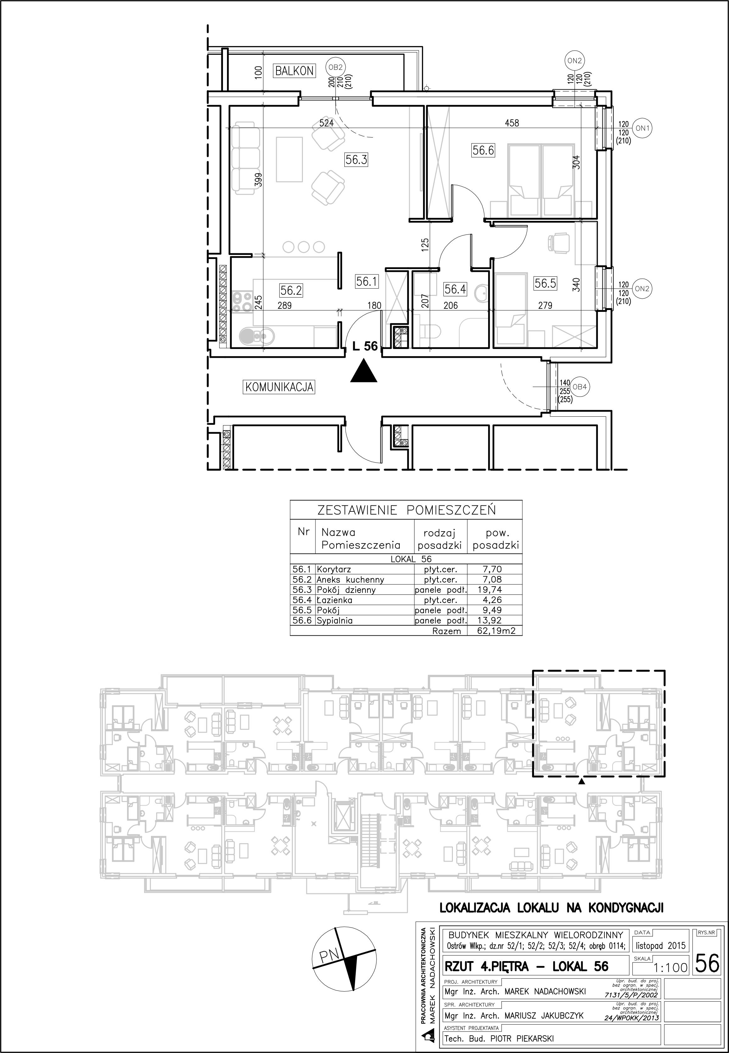 Lokal nr 56 Powierzchnia 62,19 m2