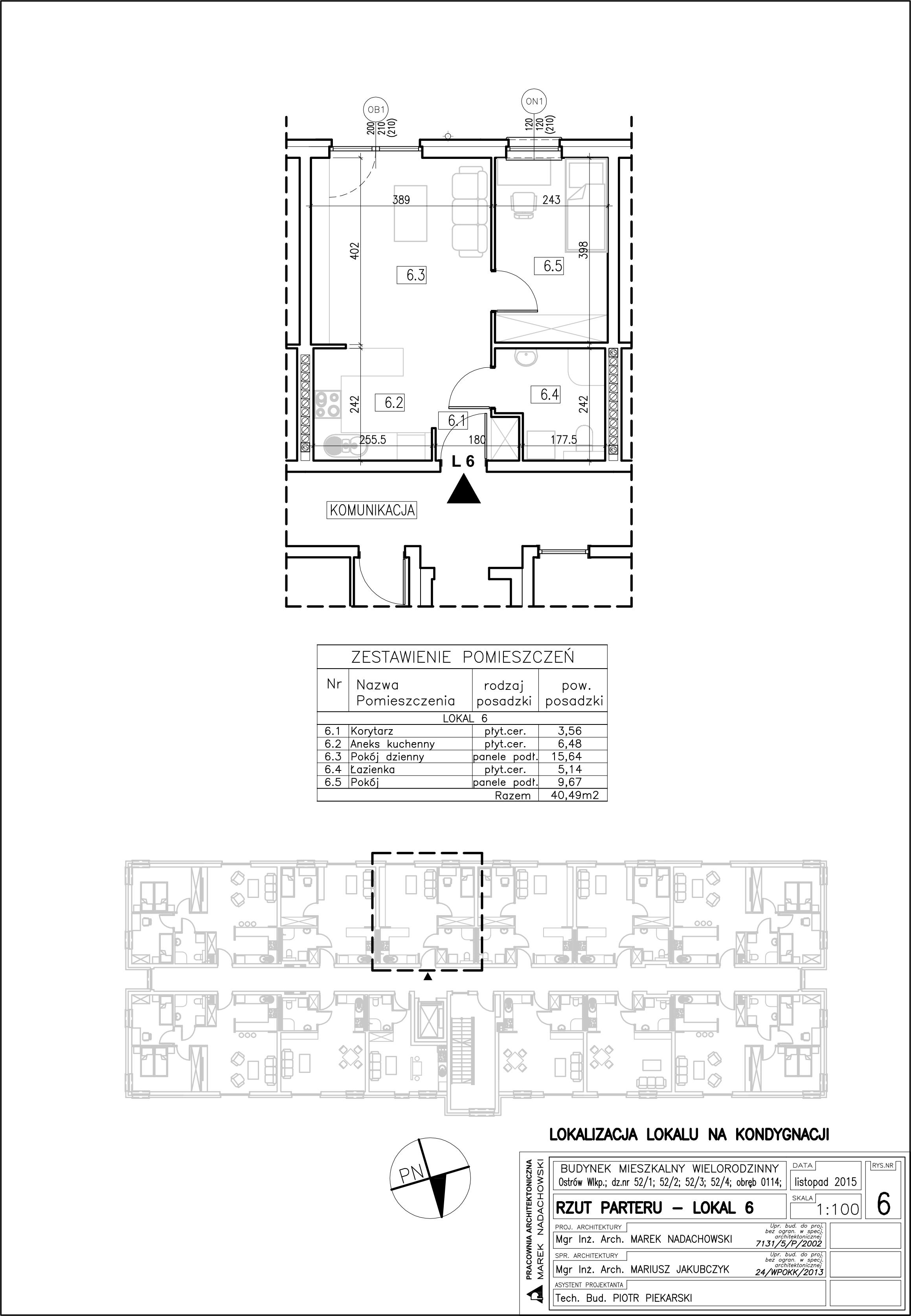 Lokal nr 6 Powierzchnia 40,49 m2, ogródek