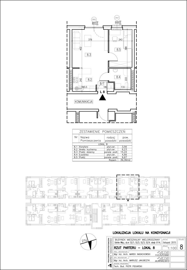 Lokal nr 8 Powierzchnia 39,36 m2, ogródek