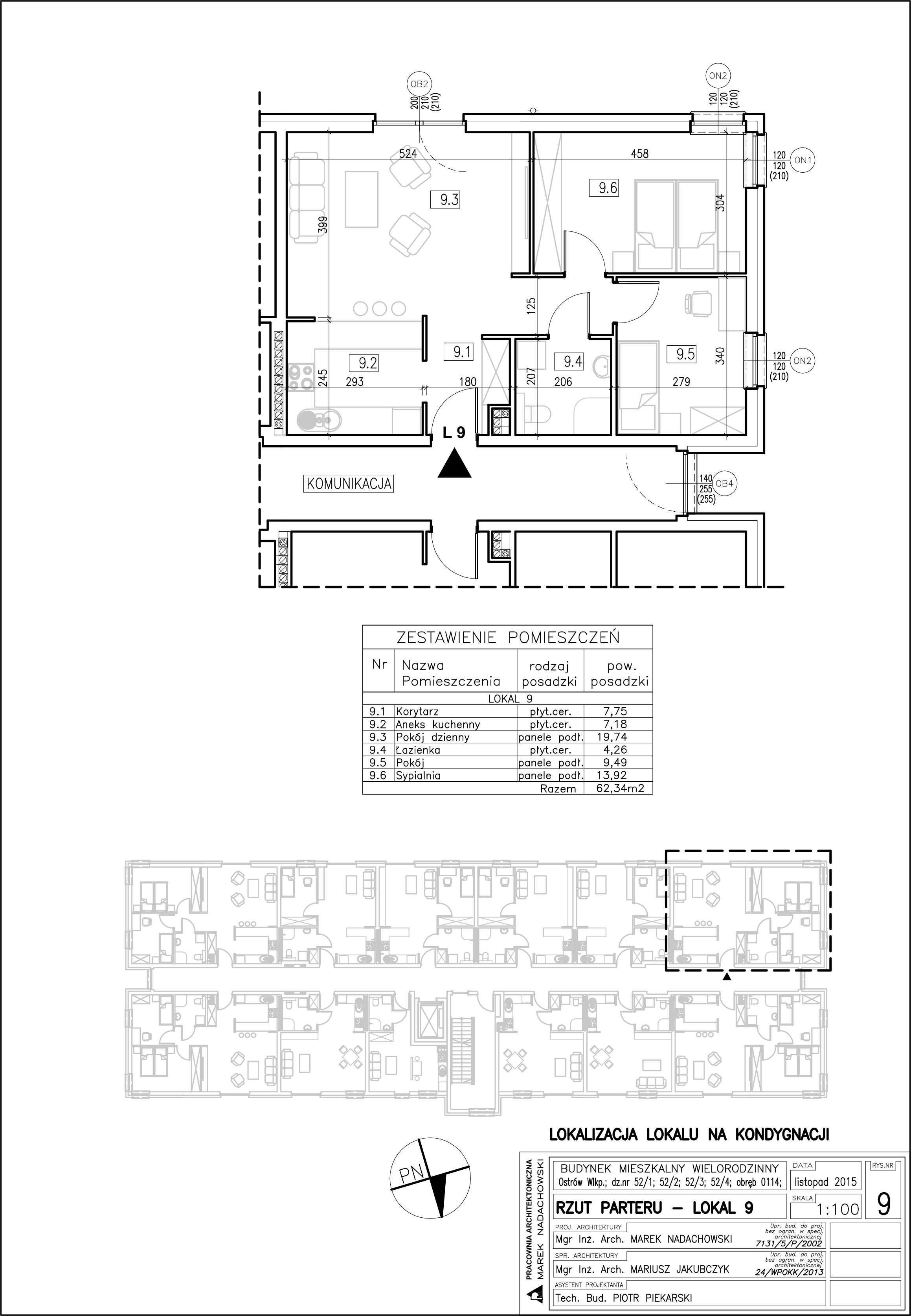 Lokal nr 9 Powierzchnia: 62,34 m2, ogródek