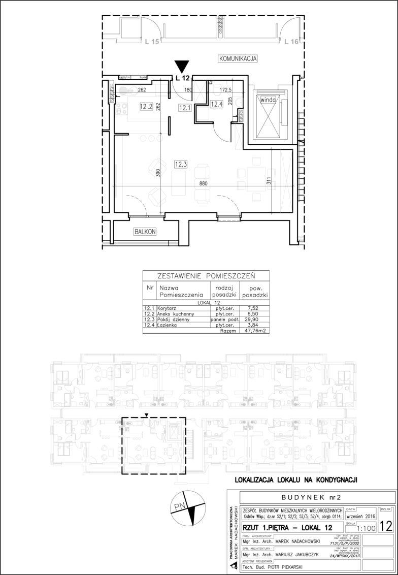 Lokal nr 12 Powierzchnia: 47,76 m2
