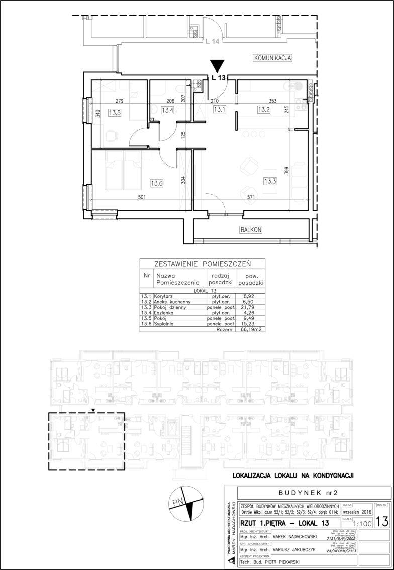 Lokal nr 13 Powierzchnia: 66,19 m2