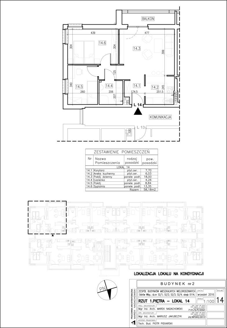 Lokal nr 14 Powierzchnia: 58,18 m2