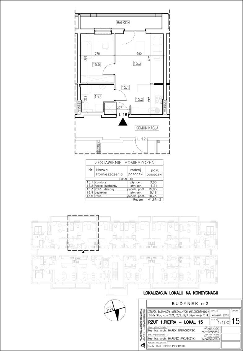 Lokal nr 15 Powierzchnia: 41,91 m2