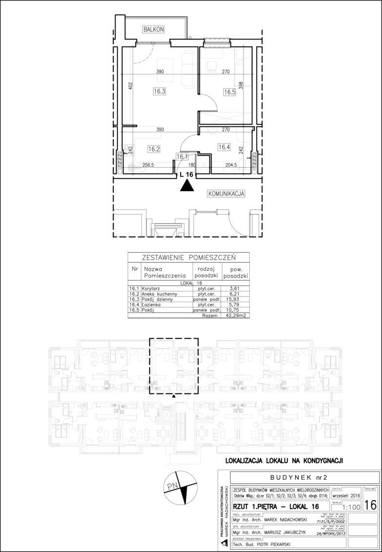 Lokal nr 16 Powierzchnia: 42,29 m2