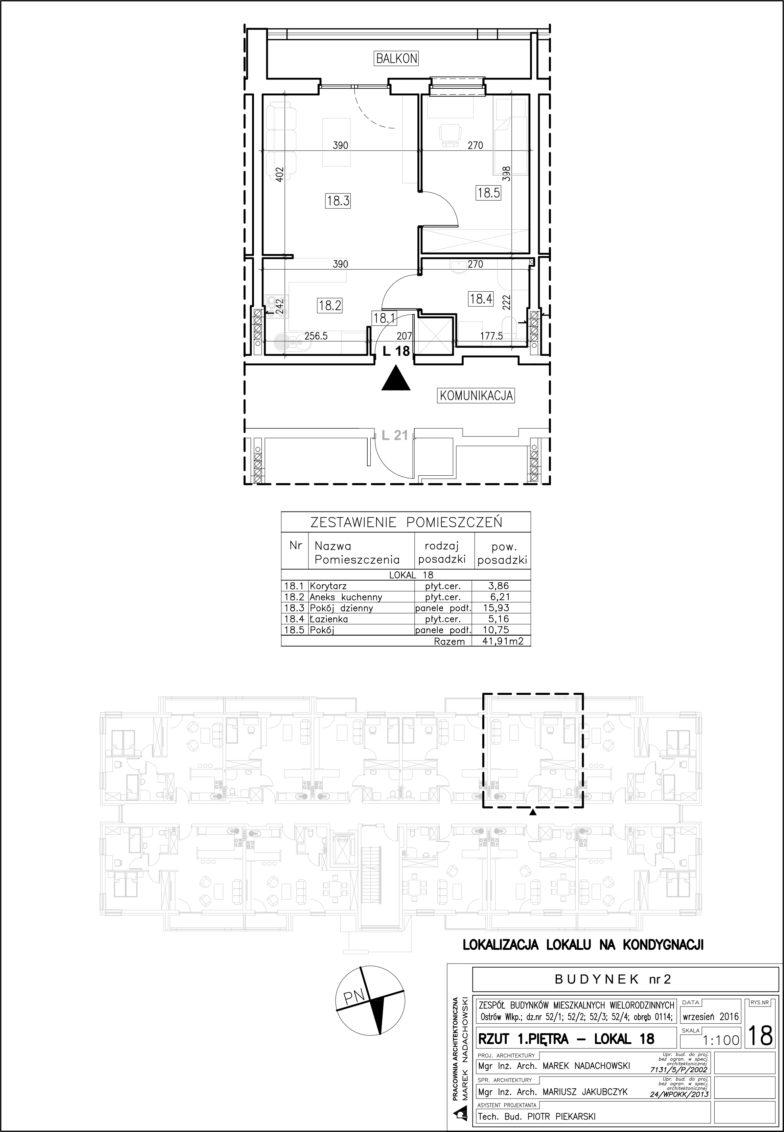 Lokal nr 18 Powierzchnia: 41,91 m2