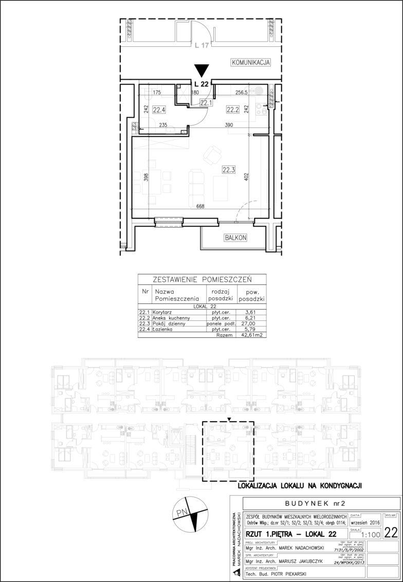 Lokal nr 22 Powierzchnia: 42,61 m2