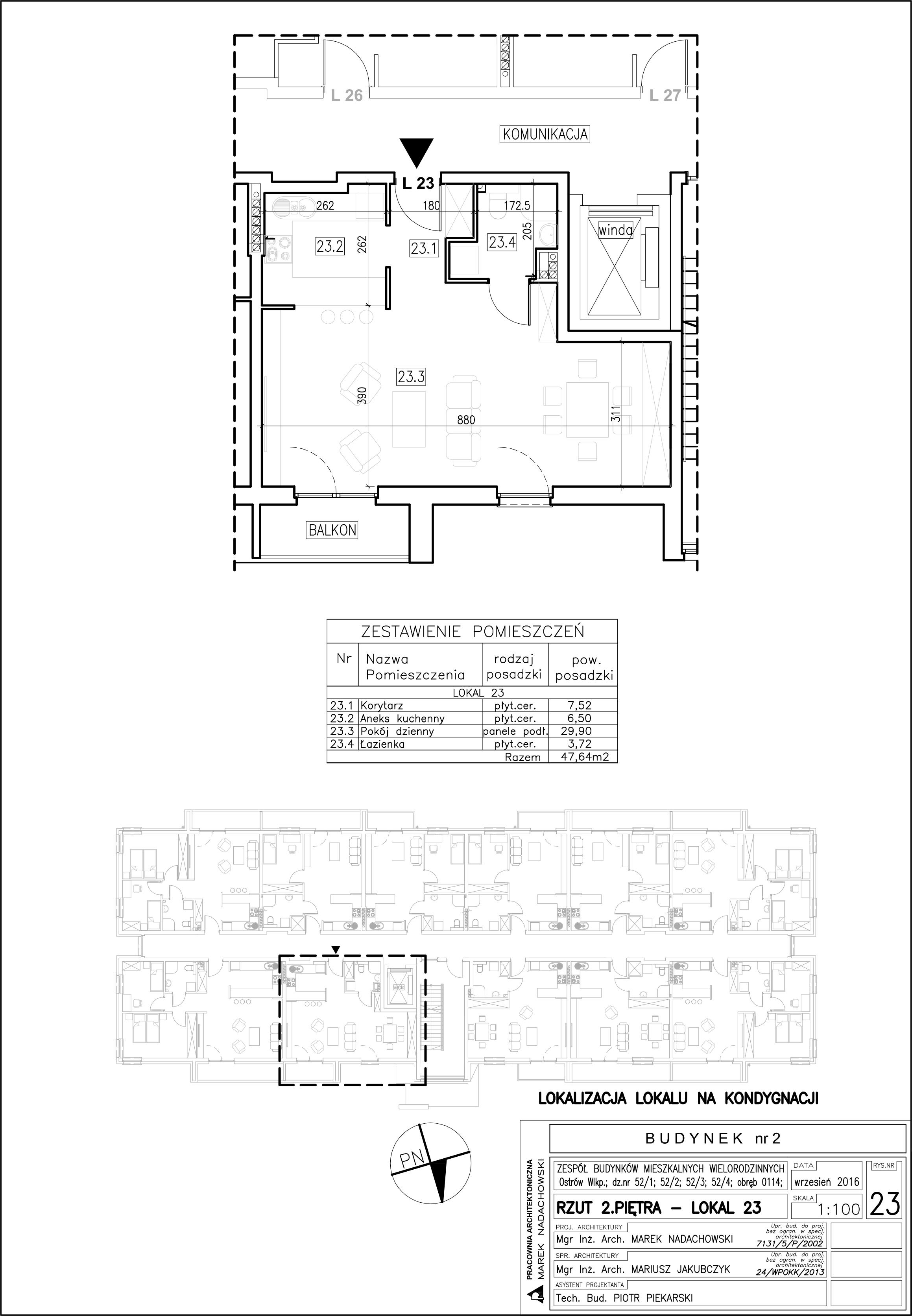 Lokal nr 23 Powierzchnia: 47,64 m2