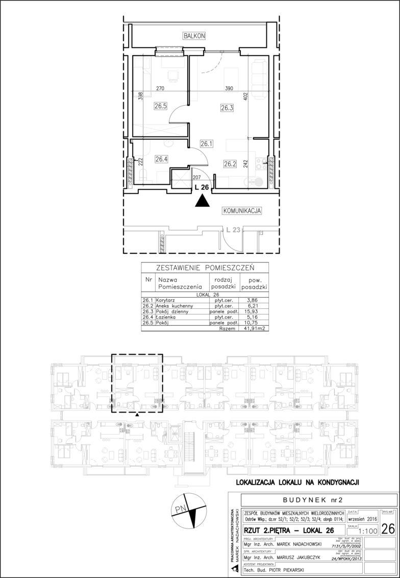 Lokal nr 26 Powierzchnia: 41,91 m2