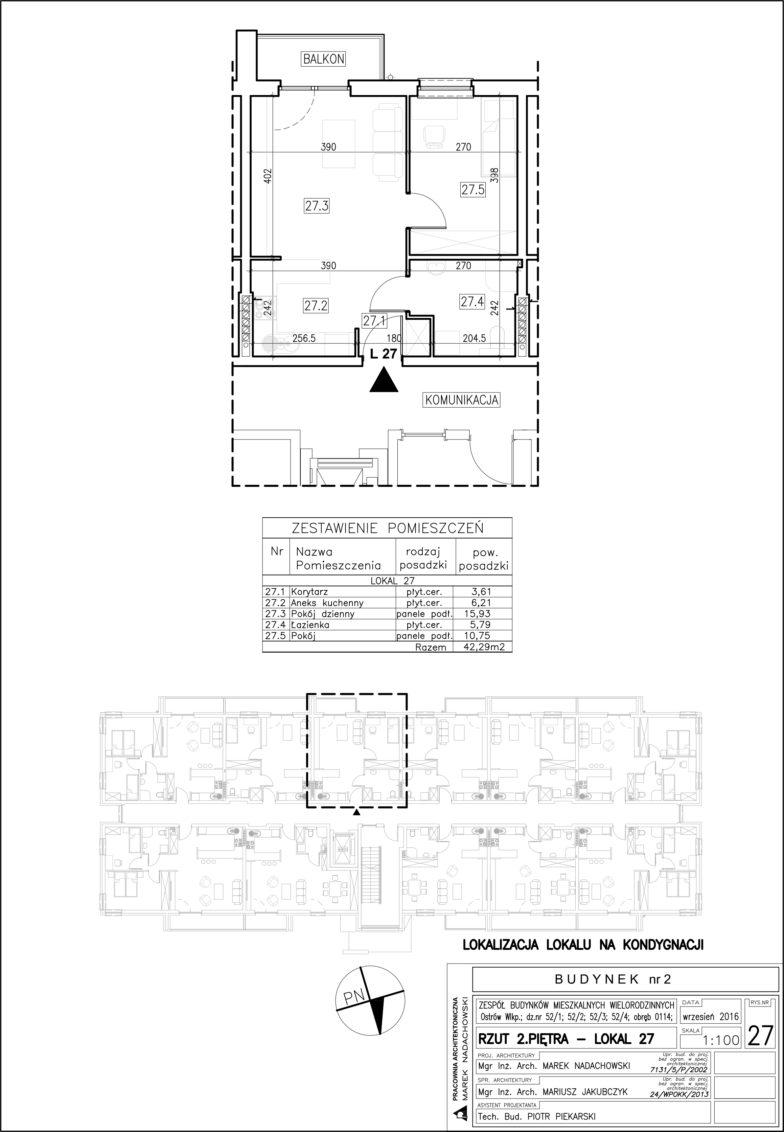 Lokal nr 27 Powierzchnia: 42,29 m2