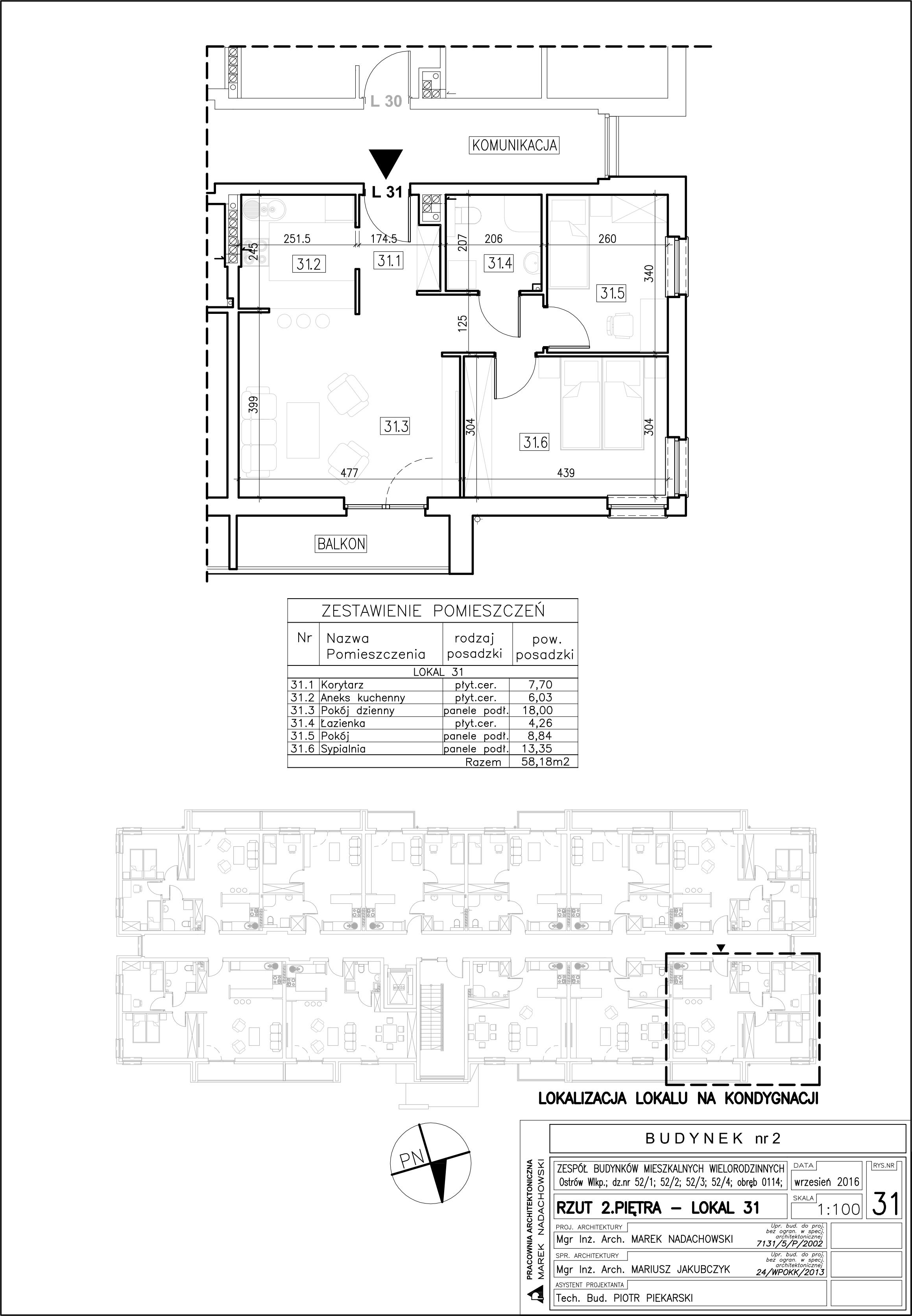 Lokal nr 31 Powierzchnia: 58,18 m2
