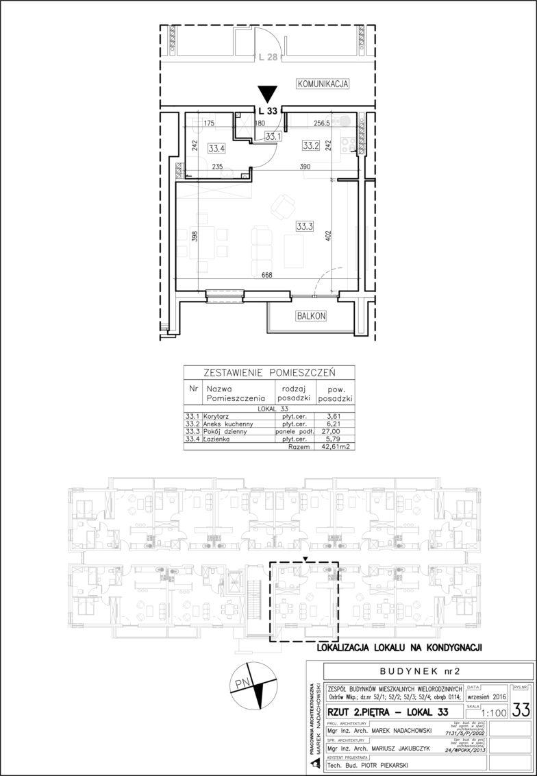 Lokal nr 33 Powierzchnia: 42,61 m2