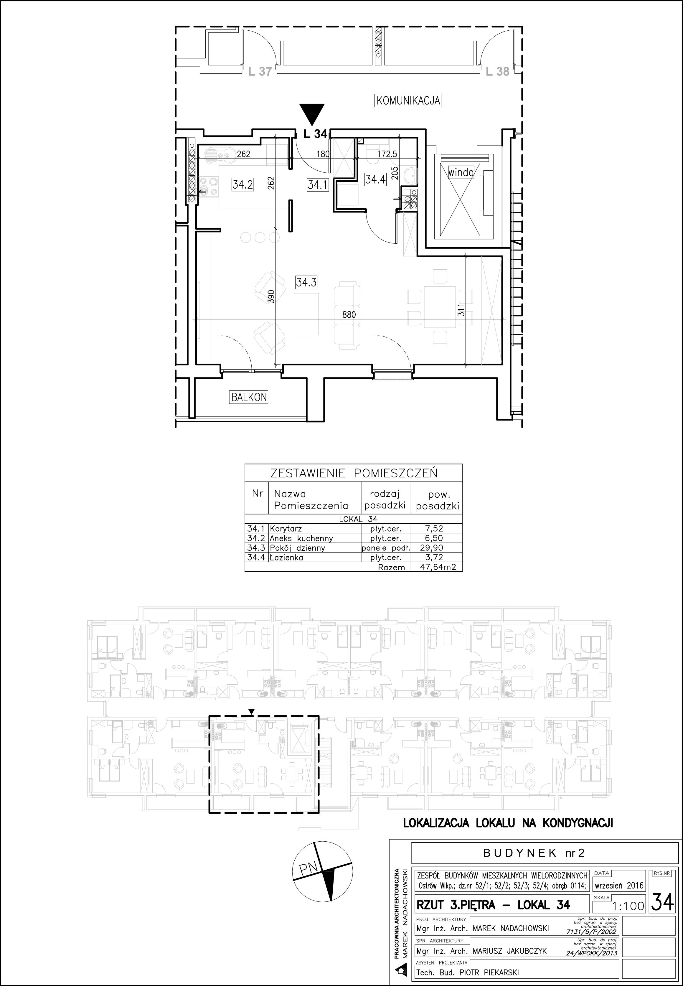 Lokal nr 34 Powierzchnia: 47,64 m2