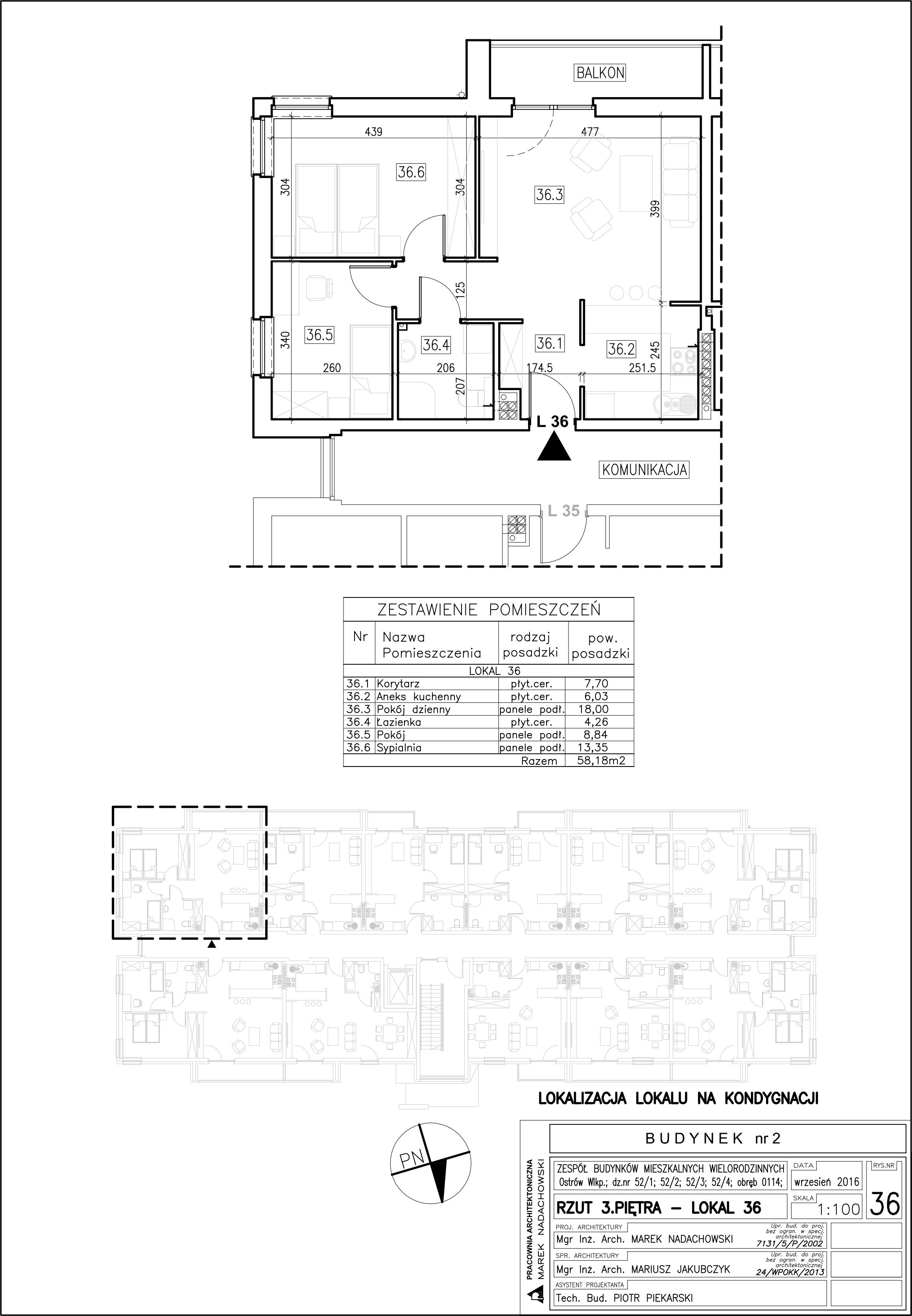Lokal nr 36 Powierzchnia: 58,18 m2