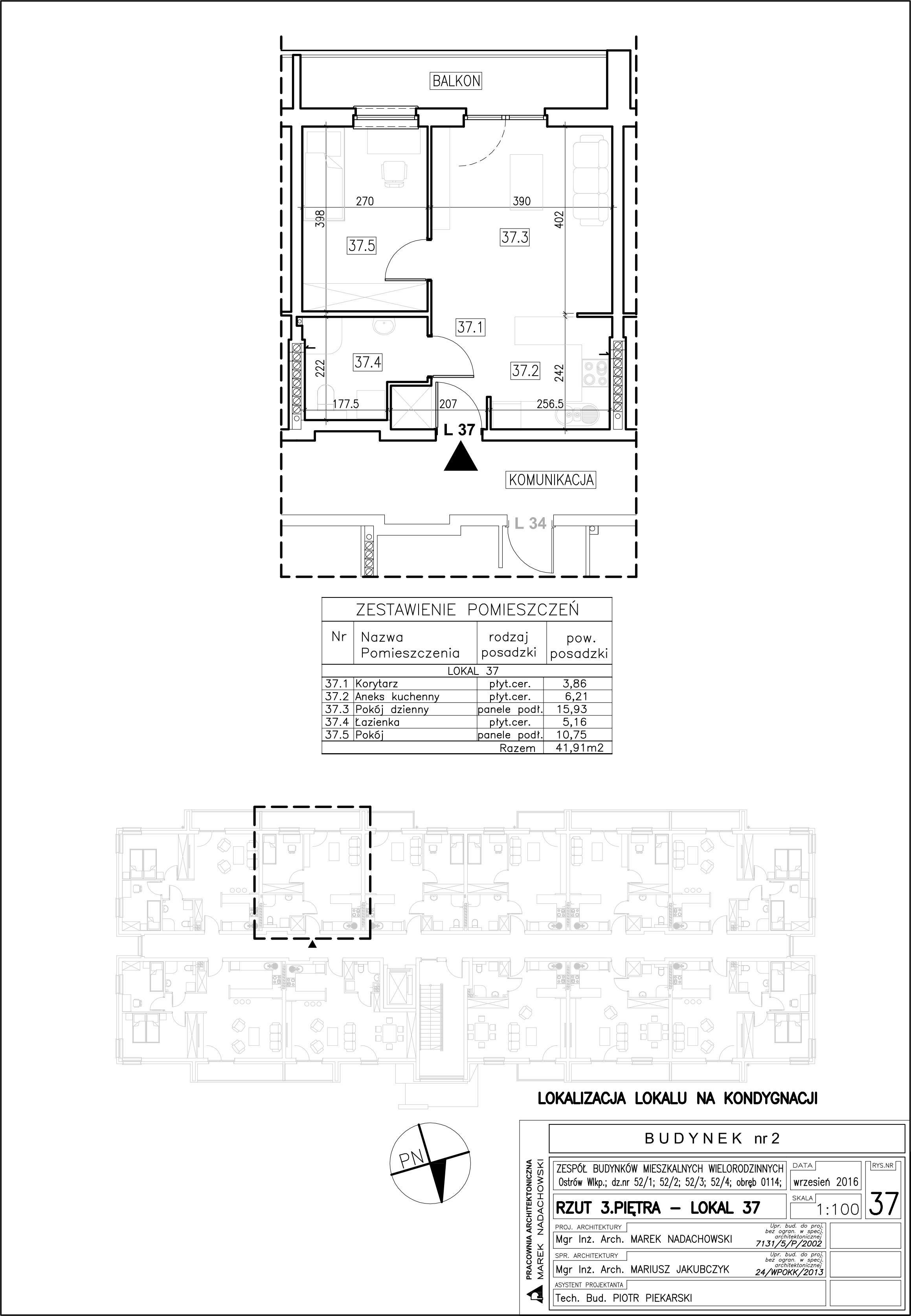 Lokal nr 37 Powierzchnia: 41,91 m2