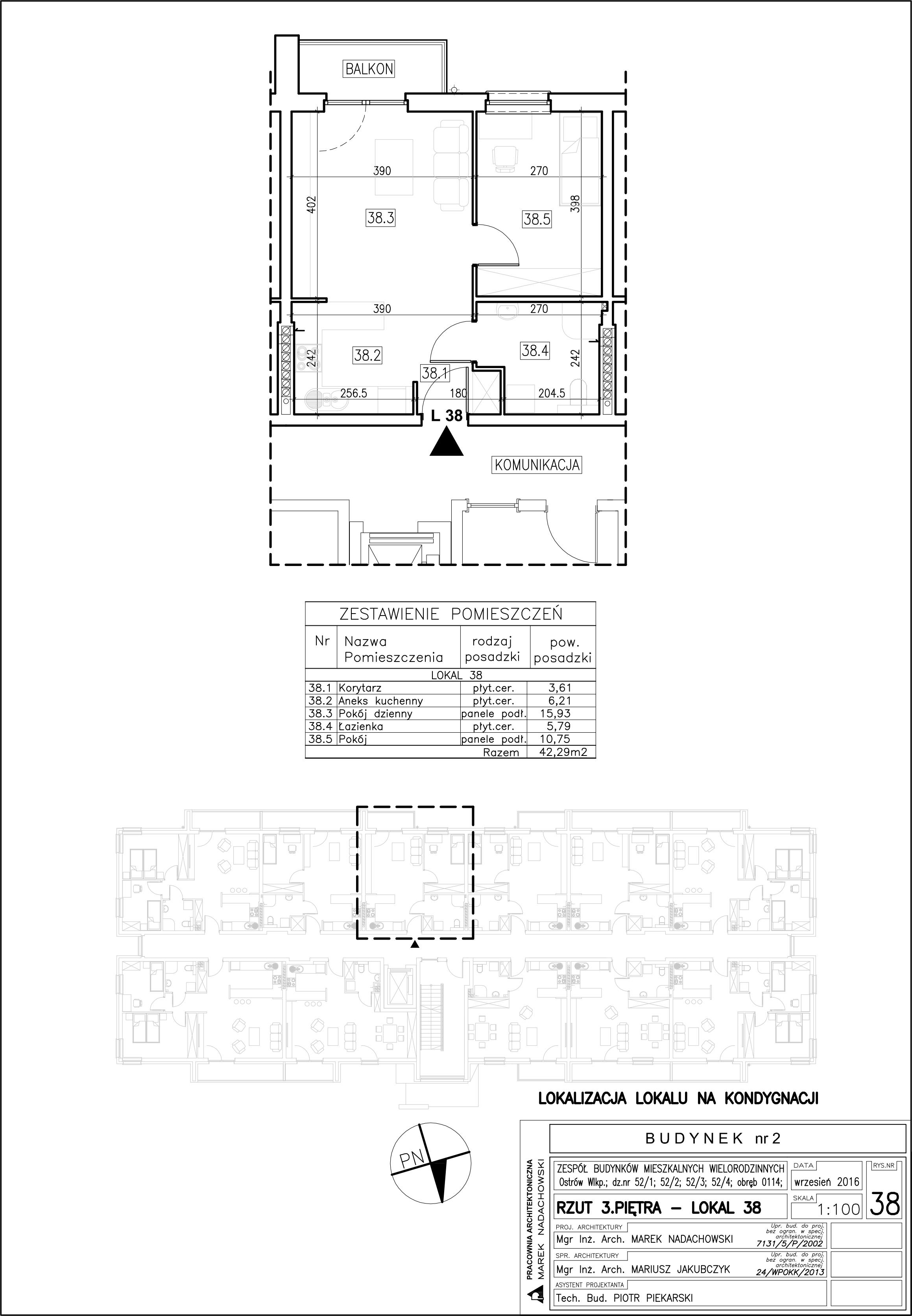 Lokal nr 38 Powierzchnia: 42,29 m2