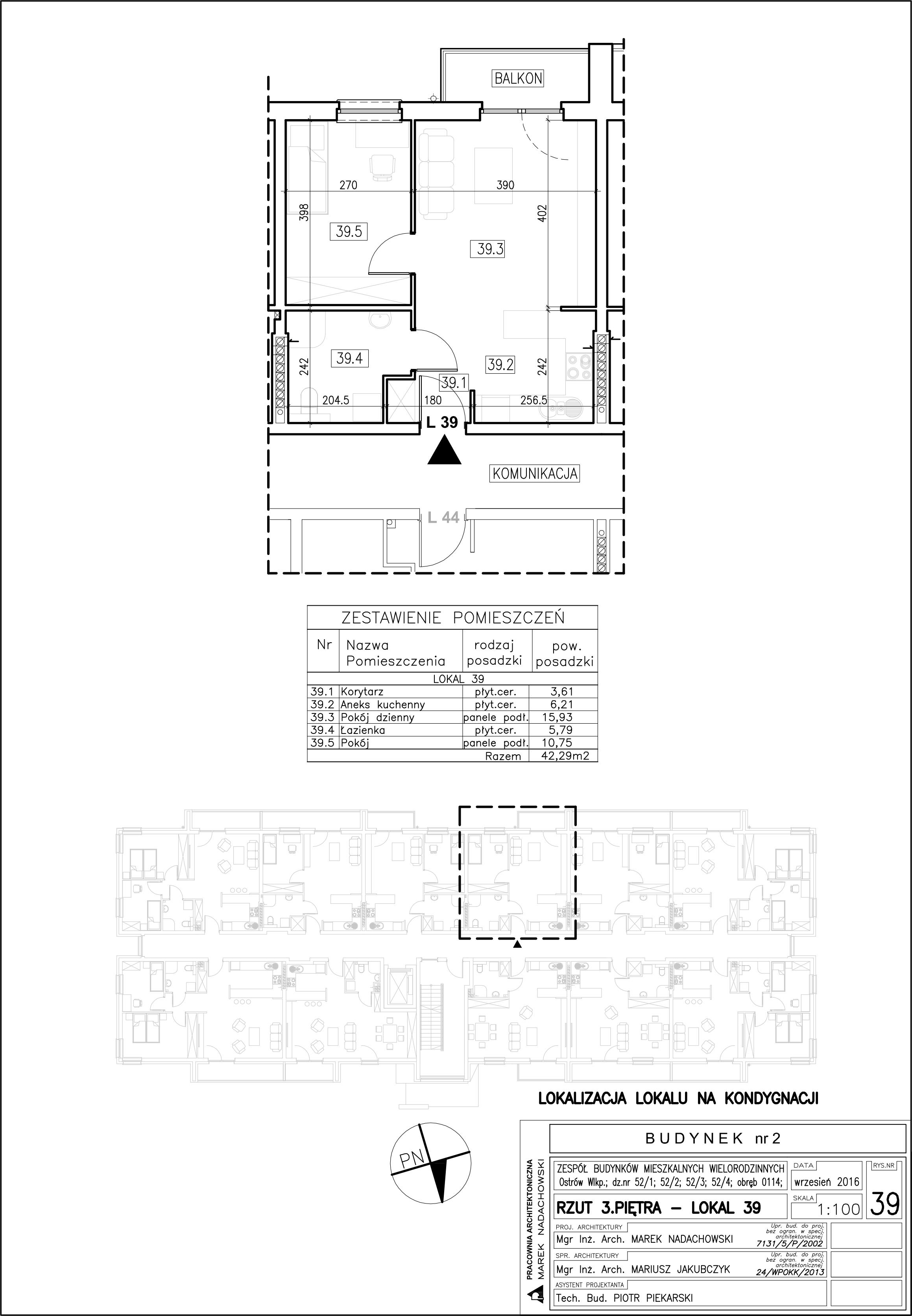 Lokal nr 39 Powierzchnia: 42,29 m2