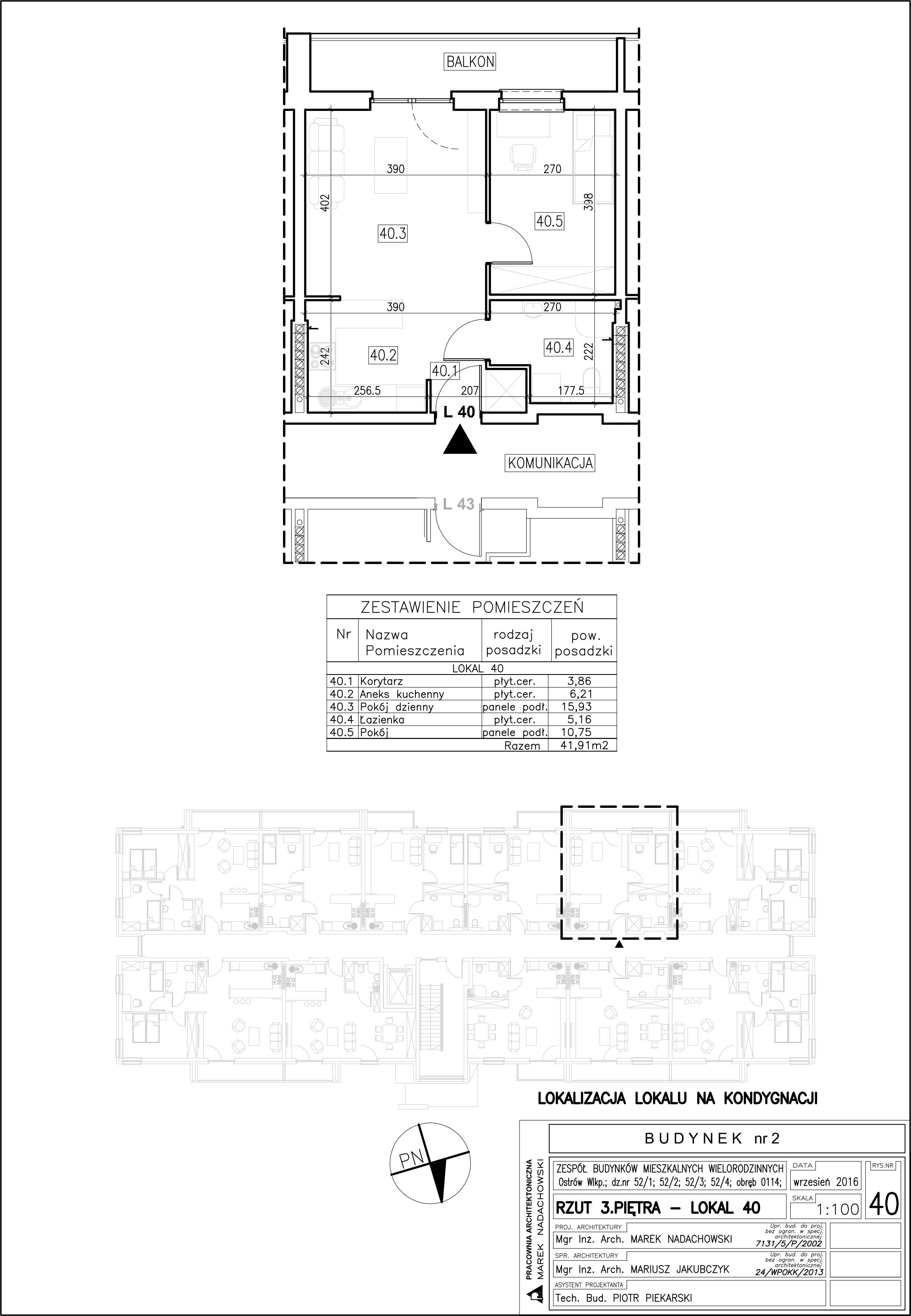 Lokal nr 40 Powierzchnia: 41,91 m2