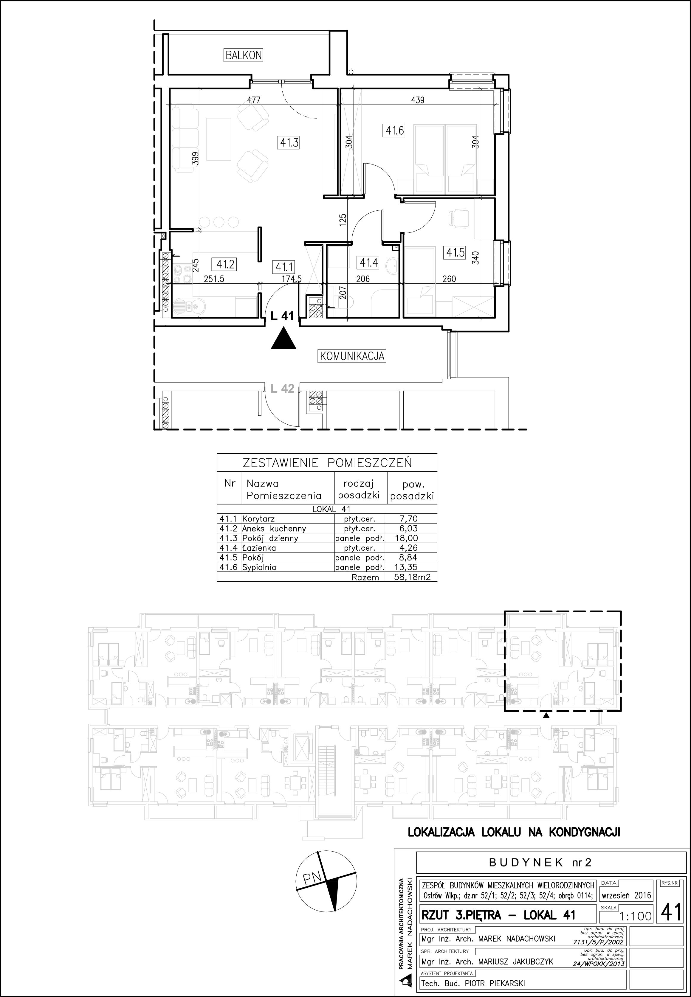 Lokal nr 41 Powierzchnia: 58,18 m2