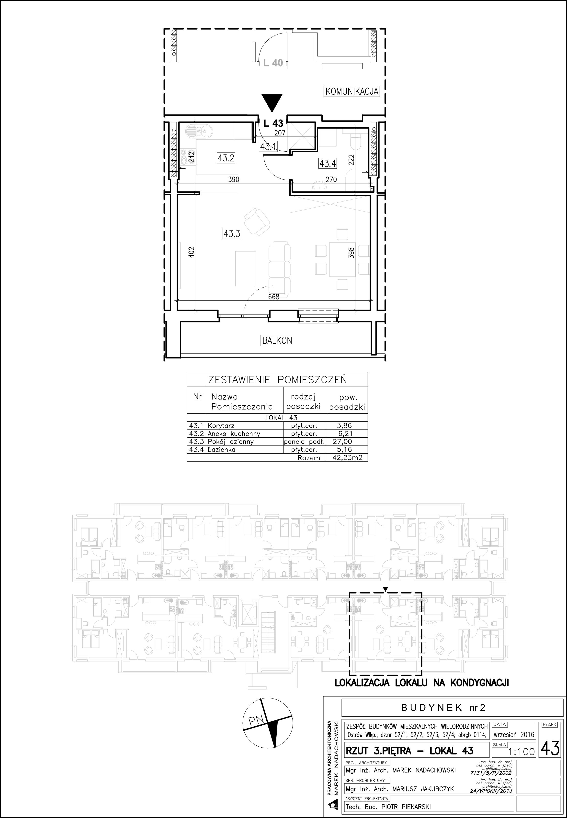 Lokal nr 43 Powierzchnia: 42,23 m2