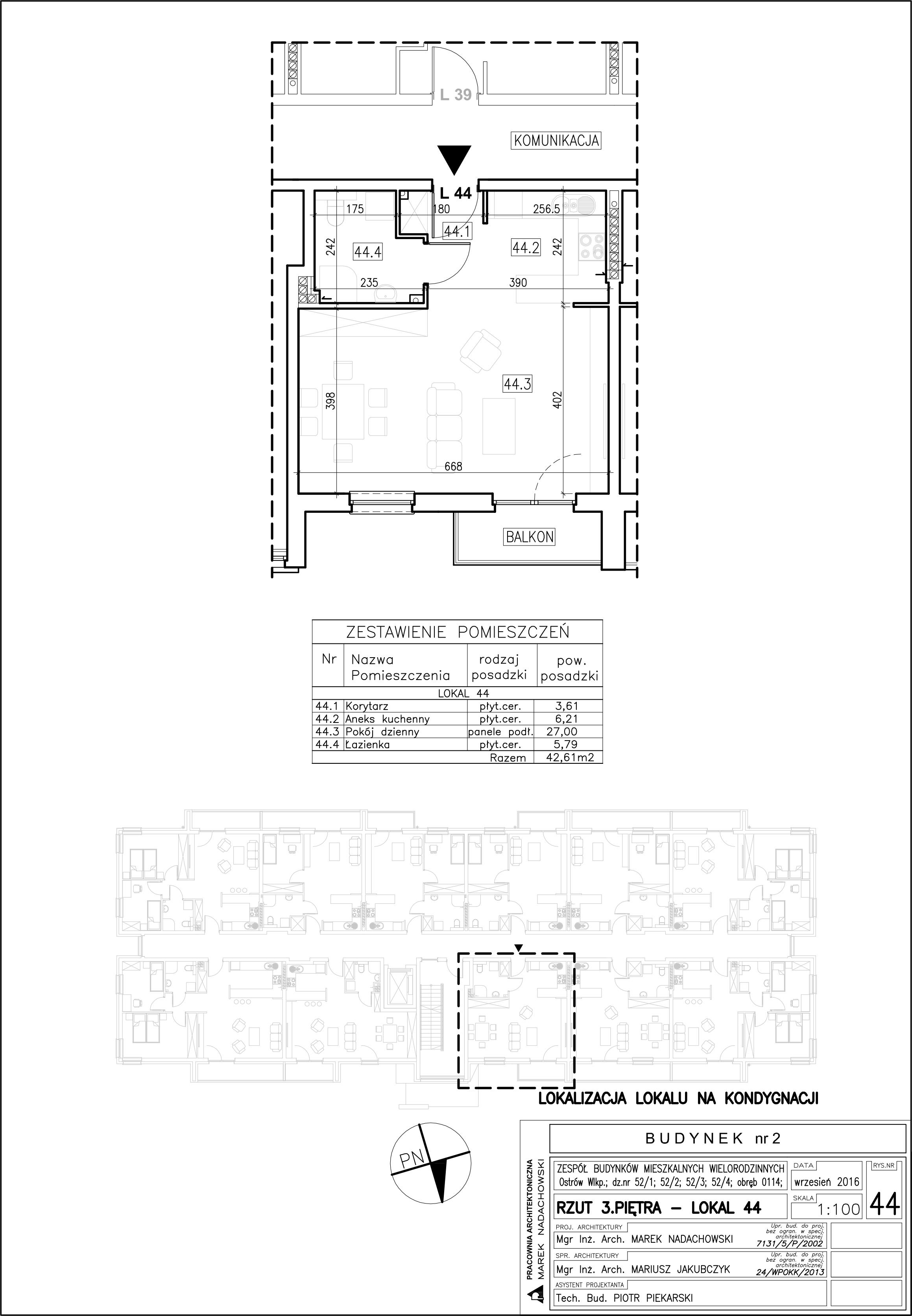 Lokal nr 44 Powierzchnia: 42,61 m2