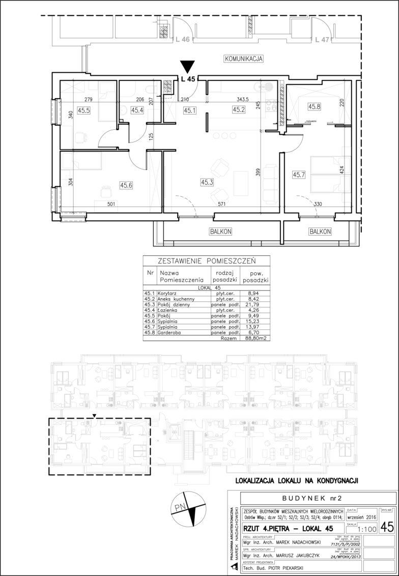 Lokal nr 45 Powierzchnia: 88,80 m2