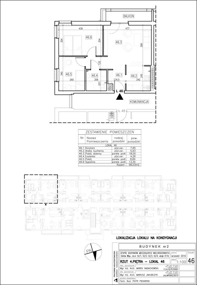 Lokal nr 46 Powierzchnia: 58,03 m2