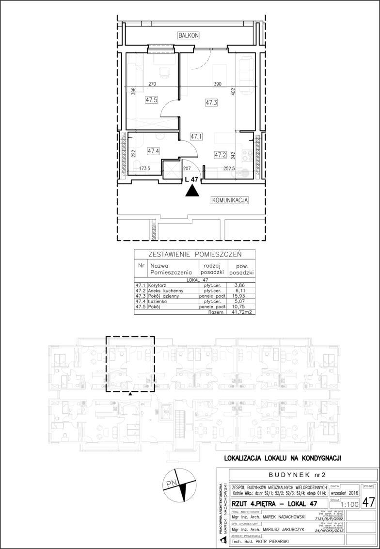 Lokal nr 47 Powierzchnia: 41,72 m2