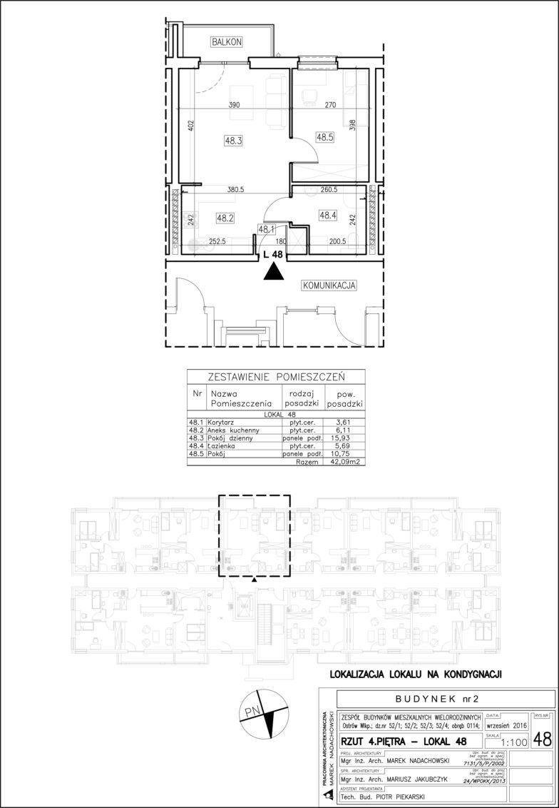Lokal nr 48 Powierzchnia: 42,09 m2