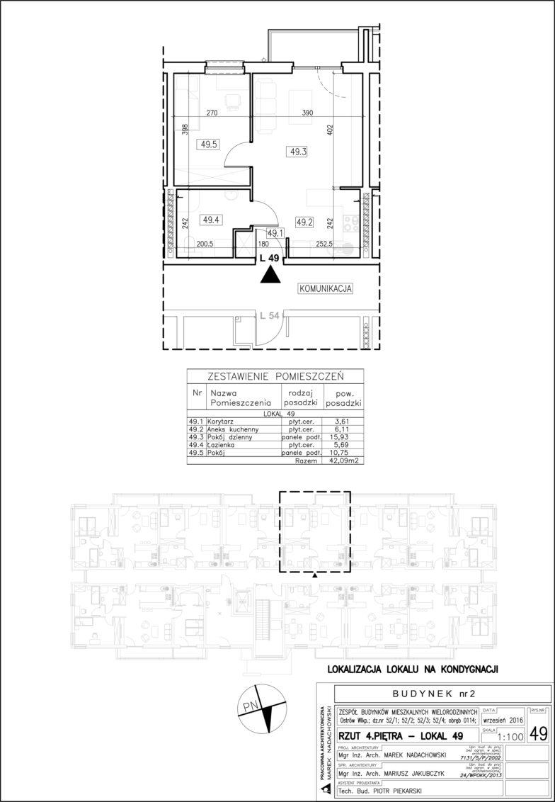 Lokal nr 49 Powierzchnia: 42,09 m2