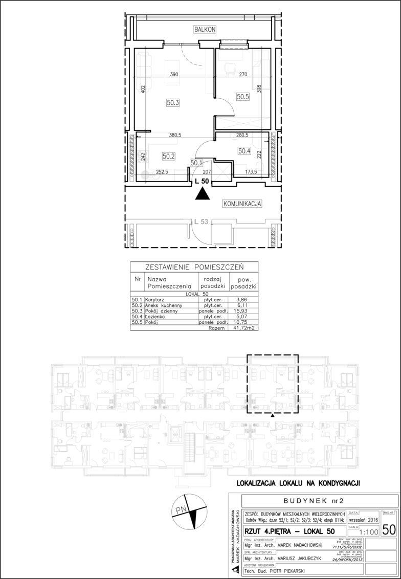 Lokal nr 50 Powierzchnia: 41,72 m2
