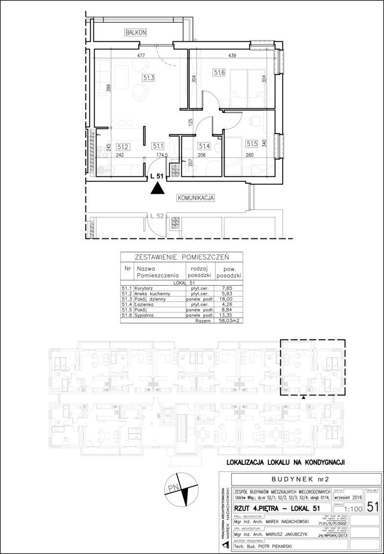 Lokal nr 51 Powierzchnia: 58,03 m2