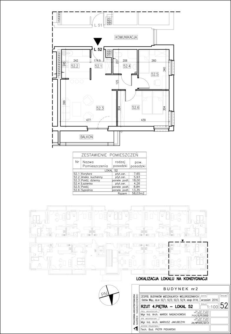 Lokal nr 52 Powierzchnia: 58,03 m2